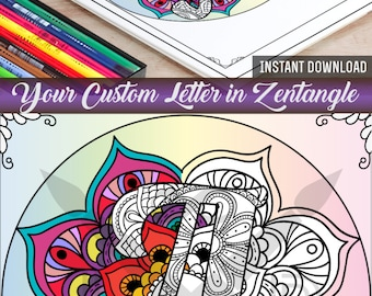 Custom Letter Coloring Page Adult Book Printable Zentangle Diy Gift Antistress Art Therapy