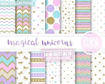 Pastel Digital Paper, Unicorn Patterns, silhouette, mint, purple, pink, gold glitter, stripes, chevron, dots, stars, to design cards, invite