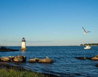 Lighthouse, Winter Island, Salem MA, lighthouse decor, lighthouse art, lighthouse print, lighthouse photo, beach decor, ocean decor