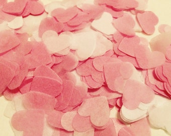 Pink and white heart wedding confetti - biodegradable