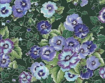Pansy Fabric...Pansies With Shades of Purple and Blue On Dark Green With Silver Lining.