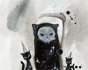The Grim Reapurrr - tiny painting, grim reaper, black cat, small drawing, ink drawing, watercolour art, cat art, spooky, halloween, painting