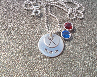 Lacrosse Mom Necklace Hand Stamped Sterling Silver with Team Colors in Swarovski Crystals - Sports Charm Necklace