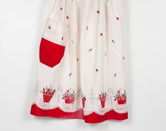 Vintage Red with White  Half Apron with Roses, Valentine's Day