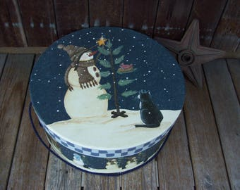 Large Primitive Snowman Hat Box,Pine Tree,Navy Roping,Checkerboard,Holiday Hat Box,Large Hat Box,Winter