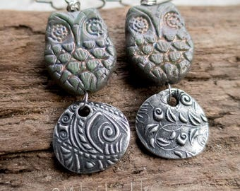 Adorable Owl Earrings    Woodland Owl Earrings   Pewter and Ceramic   Earthy   Organic   Boho   Hippie   Limited Edition   Earrings Under 25