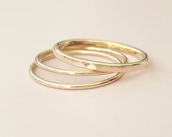 3 Gold Rings thick and thin rings mixed 14 k gold filled stacking rings super thin gold ring stackable rings