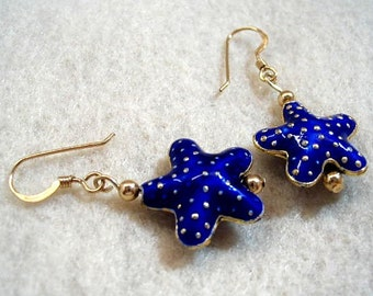 Blue and Gold Earrings, Cloisonne Starfish Dangle Earrings, Fun Jewelry, Sea Star Beach Jewelry, Bead Earrings, Gift for Her