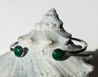 Unique double malachite sterling silver cuff bracelet