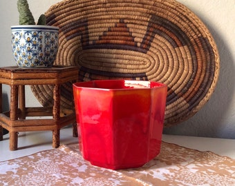 Retro Red Octagon Planter/ Vintage Planter/ Octagon Pot/ Red Pot/Red Ceramic Planter/ Drip Glaze Pot