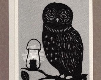 Night Owl - Greeting Card