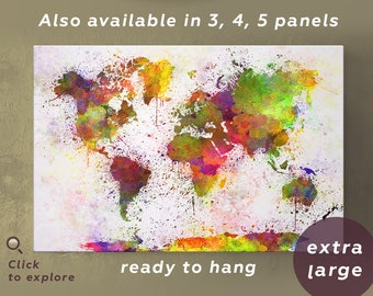Large Watercolor World Map wall art Watercolor Map Print Large world map watercolor art World map wall decor Colorful world map Color world