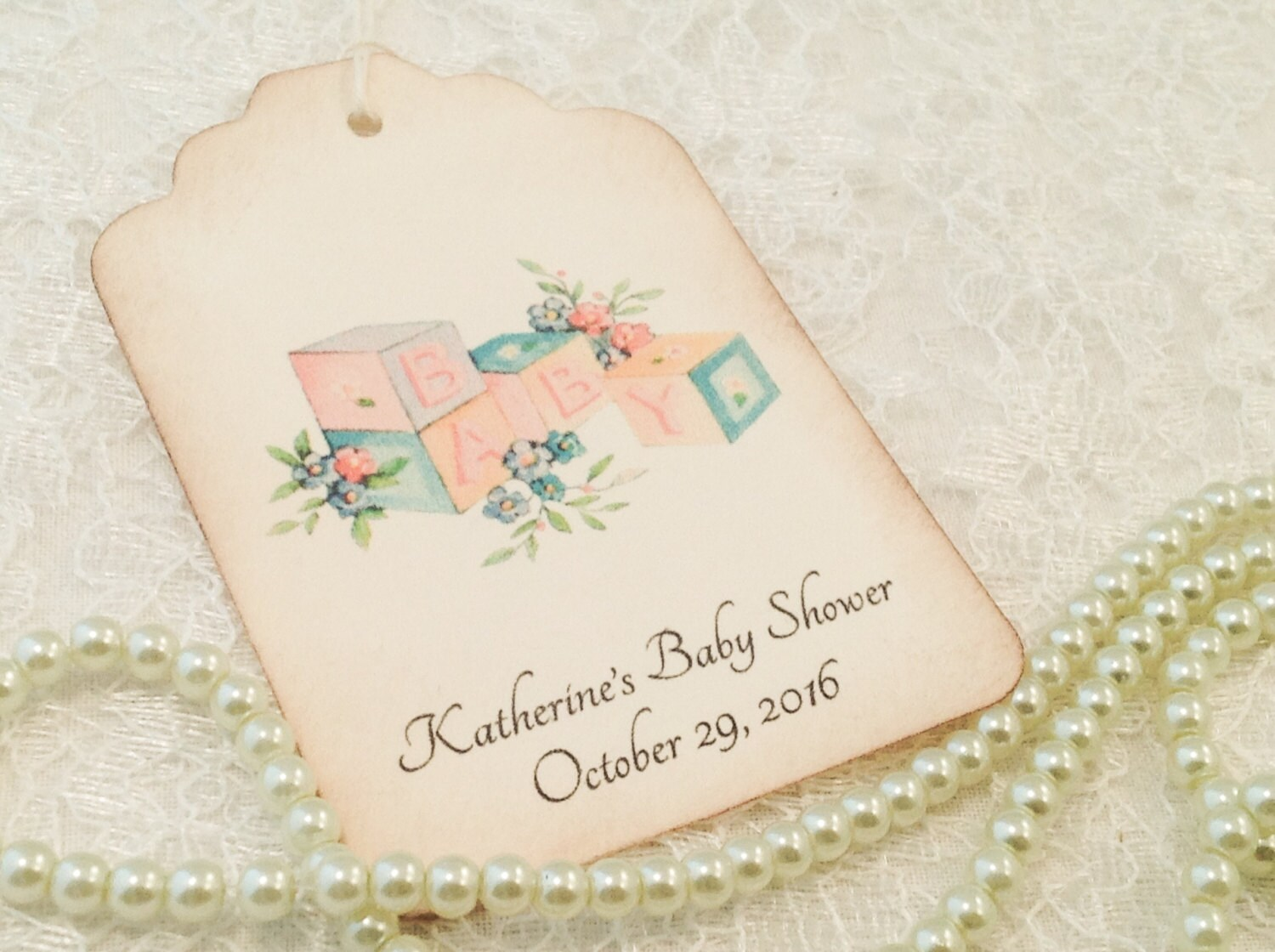 Baby Shower Thank You Tags-Baby Blocks Vintage Inspired Favor Tags ...