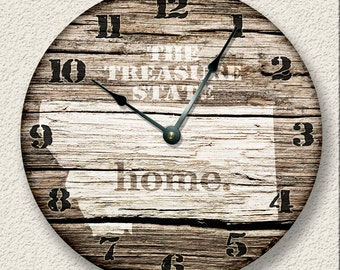 """10.5"""" Wall Clock - MONTANA Home State Wall CLOCK  - Barn Boards pattern  -  Treasure State - rustic cabin country wall home decor"""