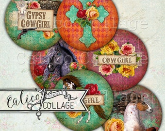 Printable, Gypsy Cowgirl, Horses, Bottlecap Images, Instant Download, Decoupage Paper, Cowgirl, Digital, Collage Sheet, Bottle Cap Images
