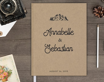 Mountain wedding guest book, Reception sign in book for wedding, Rustic personalized guestbook gb0067
