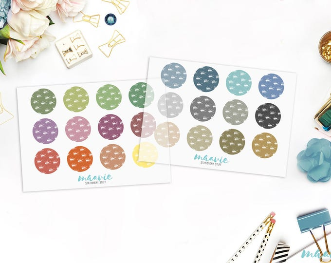 Colorful big and small dots with ants, transparent stickers