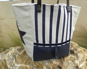 Navy Tote with faux snake leather