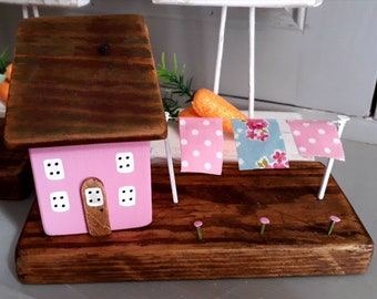 Wooden cottage with washing line -  Pink painted wooden house - reclaimed wood cottage - housewarming gift - new home gift - miniature house