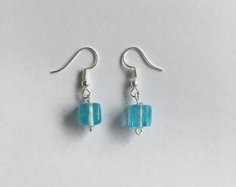 Light blue cube bead earrings