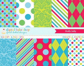christmas digital papers - Holly Jolly Digital Papers