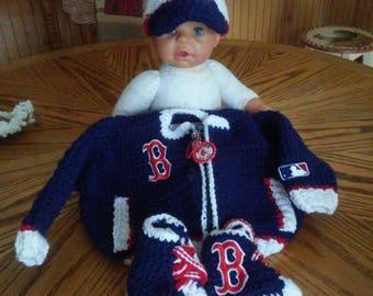 Boston Red Sox Stadium Jacket Baseball Cap and Sneakers