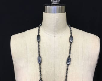 Carved hematite beaded necklace