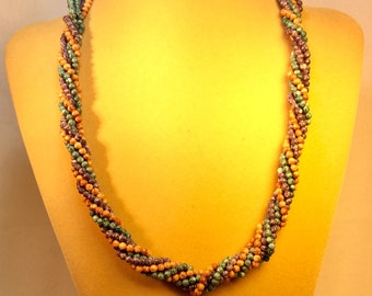 Three Strand turquoise Purple And Brown Twisted Necklace