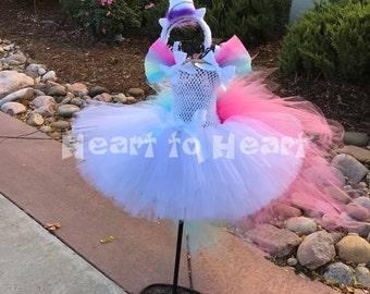 Unicorn tutu dress with headband, colorful tutu dress, birthday girl, birthday outfit set, Colorful unicorn outfit, Unicorn costume dress