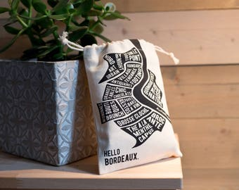 Pocket little Burgundy - small bag eco-friendly cotton, tote bag, Burgundy