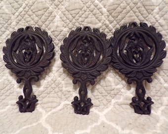 Set of 3 Small Trivets - Eagle/Heart - All Marked MT-13 Eagle on the back