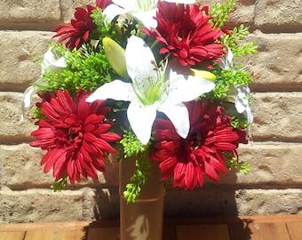 Grave Headstone Flower Vase Cemetery Artificial Flower Arrangement