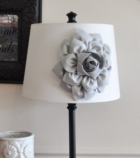 Gray dahlia lampshade flower accessory magnet lamp shade mozeypictures Choice Image