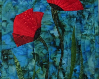 Art Quilt Two Poppies on blue, Wall Quilt, Wall Hanging, Flowers