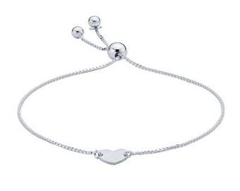 Silver Heart Bracelet, Adjustable Bracelet, Dainty Bracelet, Minimalist Bracelet, Silver Boho Bracelet, Tiny Heart Adjustable Bracelet