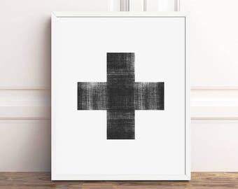 Scandinavian Modern Swiss Cross, Nordic Wall Decor, Minimalist Instant Download, PRINTABLE Art, Black and White, 5x7, 8x10 Print, 16x20, A4