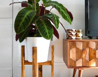 Mid Century Plant Stand - Reclaimed Wood Plant Stand - Wood Plant Stand - Modern Plant Stand - Plant Stand - Mid-Century - Reclaimed Wood