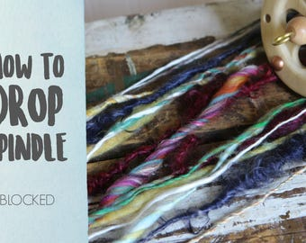 SPINDLING Blocked Art Yarn - How to Spin Art Yarn on a Drop Spindle - One HD Video Tutorial from How to Spin Yarn