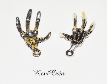 5 x charms charms silver skeleton hands
