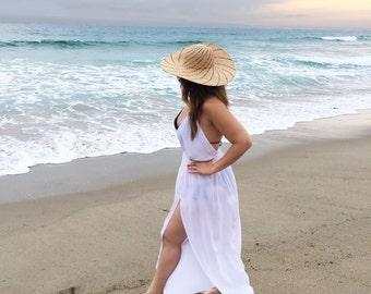 Swimsuit Cover-up, Beach Cover-ups, Swim Cover-ups    Halter Y-string Back Gold Ring Swimwear Dress    Resort Wear, Beachwear    {Zoe}