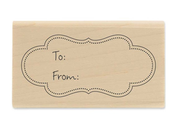 To From Bracket Frame Wood Block Rubber Stamp Christmas Gift Tag