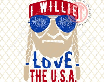 I Willie Love the USA Editable vector Cut File .eps .ai .svg and .pdf formats included INSTANT download