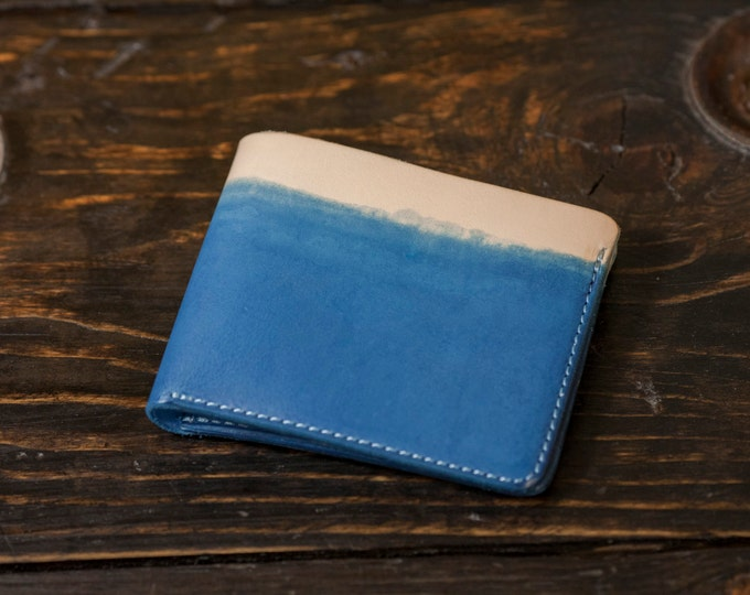 Indigo Dip Dyed Natural Vegetable Tanned Leather Bifold Wallet