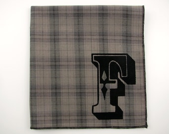 SALE - INITIAL F super soft discontinued army green hanky with the letter F only- last one