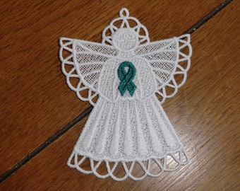 Embroidered Magnet - Christmas - Ovarian Cancer Angel - Teal Ribbon