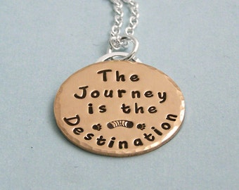 The Journey is the Destination - 14K Gold FilledHand Stamped Necklace - Dog Agility Necklace - Motivational Jewelry