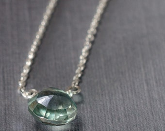 Light Green Quartz Little Rock Sterling Silver Necklace