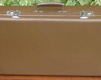 Vintage Flat Brown Suitcase