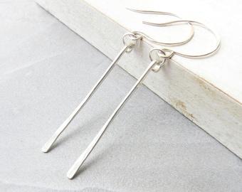 Long Earrings, Silver Stick Earrings, Textured Earrings, Long Bar Earrings, Hammered Earrings, Dangle Earrings, Thin Earrings, Drop Earrings