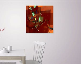 Luminous Orange and Green Abstract Gallery Wrap Canvas